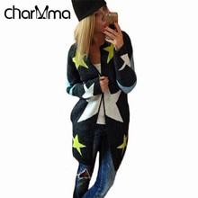 charMma Women Winter Vest Autumn Cardigans Star Pattern Print Knitted Cardigan Women Long Sweater Warm Outerwear Feminino Coats