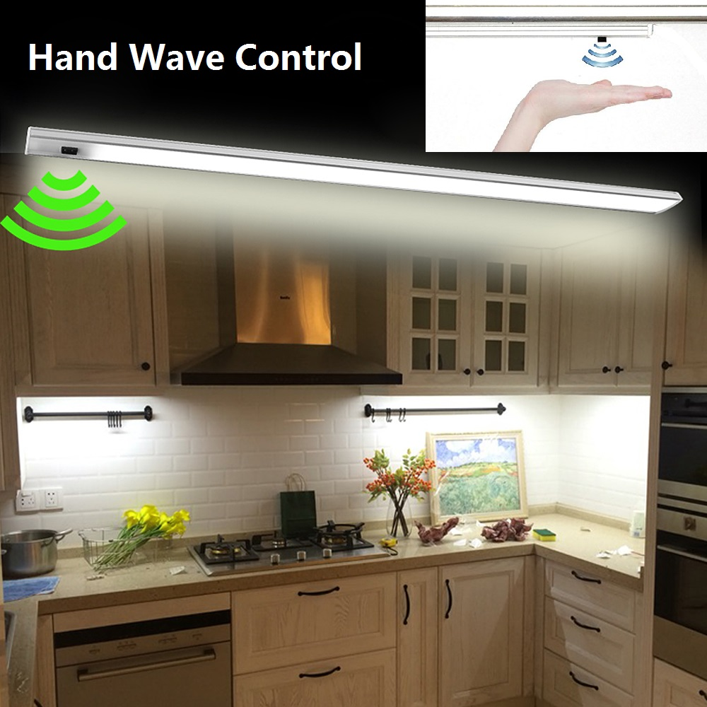 Under Cabinet Lights Hand Wave Control Kitchen LED Light Infrared Sensor Rigid Strip Bar Showcase Wardrobe Lighting Night Lamp