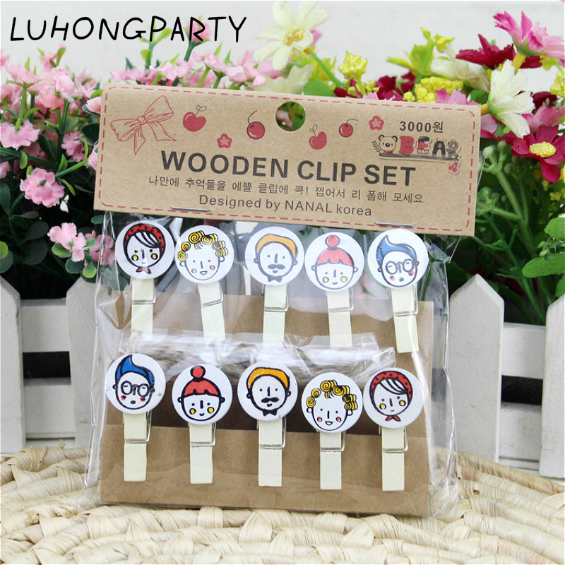 10PCS Family mother father friend boy Wooden Clothespin Office Supplies Photo Craft Clips DIY Clothes Paper Peg Party Decoration