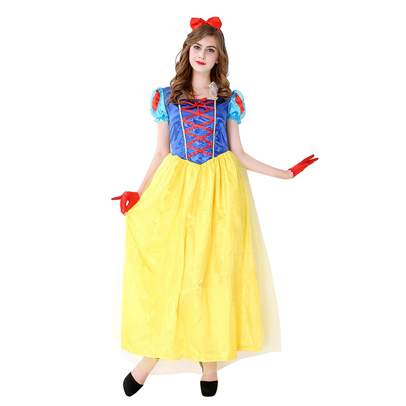 Snow White Costume Adult Women's Princess Dress With Headband Halloween Costumes For Women