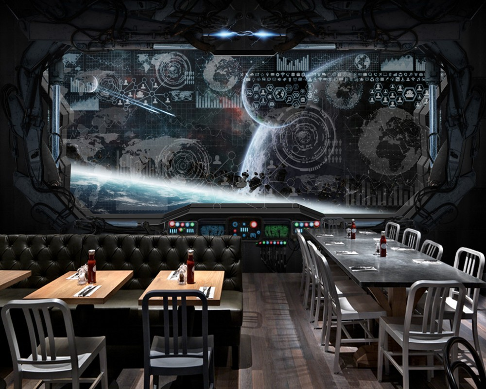 Free Shipping Custom 3D Fashion Restaurant Murals Cool Bar Wallpaper Space Capsule Spaceship Mural Good Looking Background Wall free shipping personality technology world map mural wall restaurant wallpaper cafe mural bar hotel custom 3d mural best price