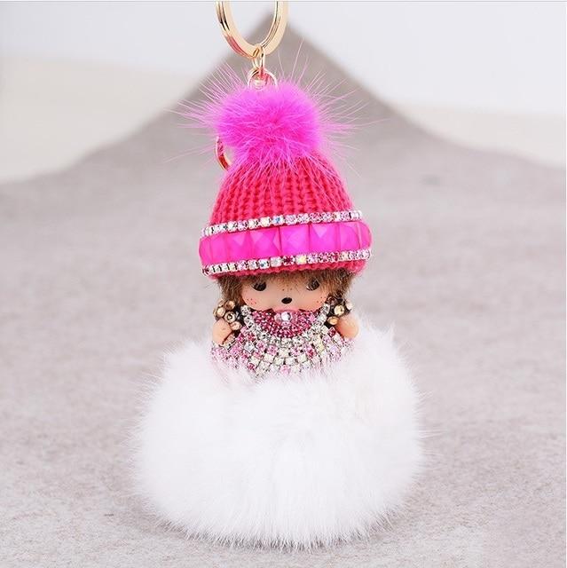 2016 Hot venta nuevas mujeres regalo lindo Monchichi mullido Real de piel de conejo llavero para el coche clave bolsa colgante anillo de bola llavero de piel