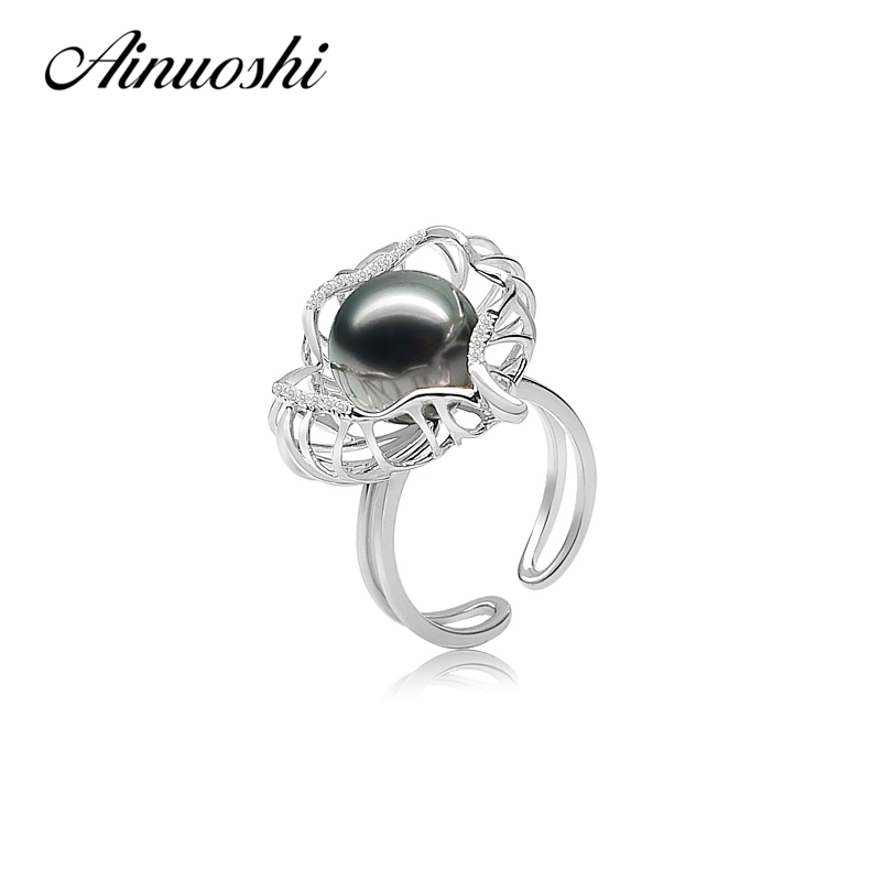 AINUOSHI 925 Sterling Silver Flower Shaped Pearl Rings Natural Tahiti Black Pearl Women Wedding Open Adjustable Round Pearl Ring faux pearl s shaped cuff ring