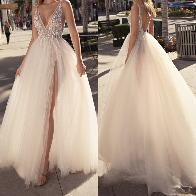 Charming 2019 Tulle Evening Gowns Backless V Neck High Split Sexy Prom Party Gowns Custom Made Special Occasion Dresses Cheap