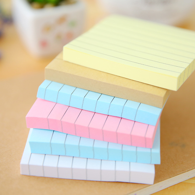 Memo Pad Simplified Kraft Paper Horizontal Line Urine Sign, Candy, Color, Square Message, N Times, Post Stickers School Supplies