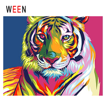 WEEN Colorful Tiger Diy Painting By Numbers Abstract Animal Oil On Canvas Cuadros Decoracion Acrylic Wall Art Home 2018