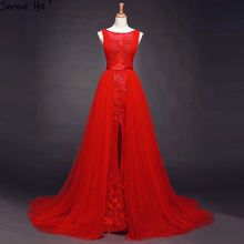 Red New A Line Sleeveless Tulle Evening Gowns Beading Sequined Fashion Bridal Toast Evening Dresses Serene Hill 66639
