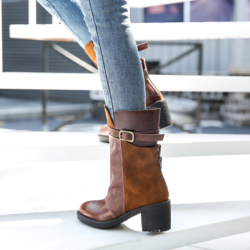 Hiver Leather Casual Courtes In Perfetto Style Prova Vintage Véritable coffee Cuir Main Bottes Chaussures Rome En Femme green In Daim Femmes Coffee Automne Plush In Glissière Hw7Zwq