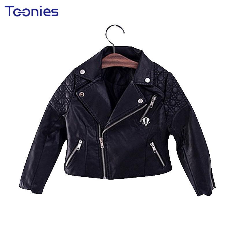 Hot Sale Spring Autumn Fashion Kids Leather Jacket Girls PU Jacket Children Outwear For Girl Baby