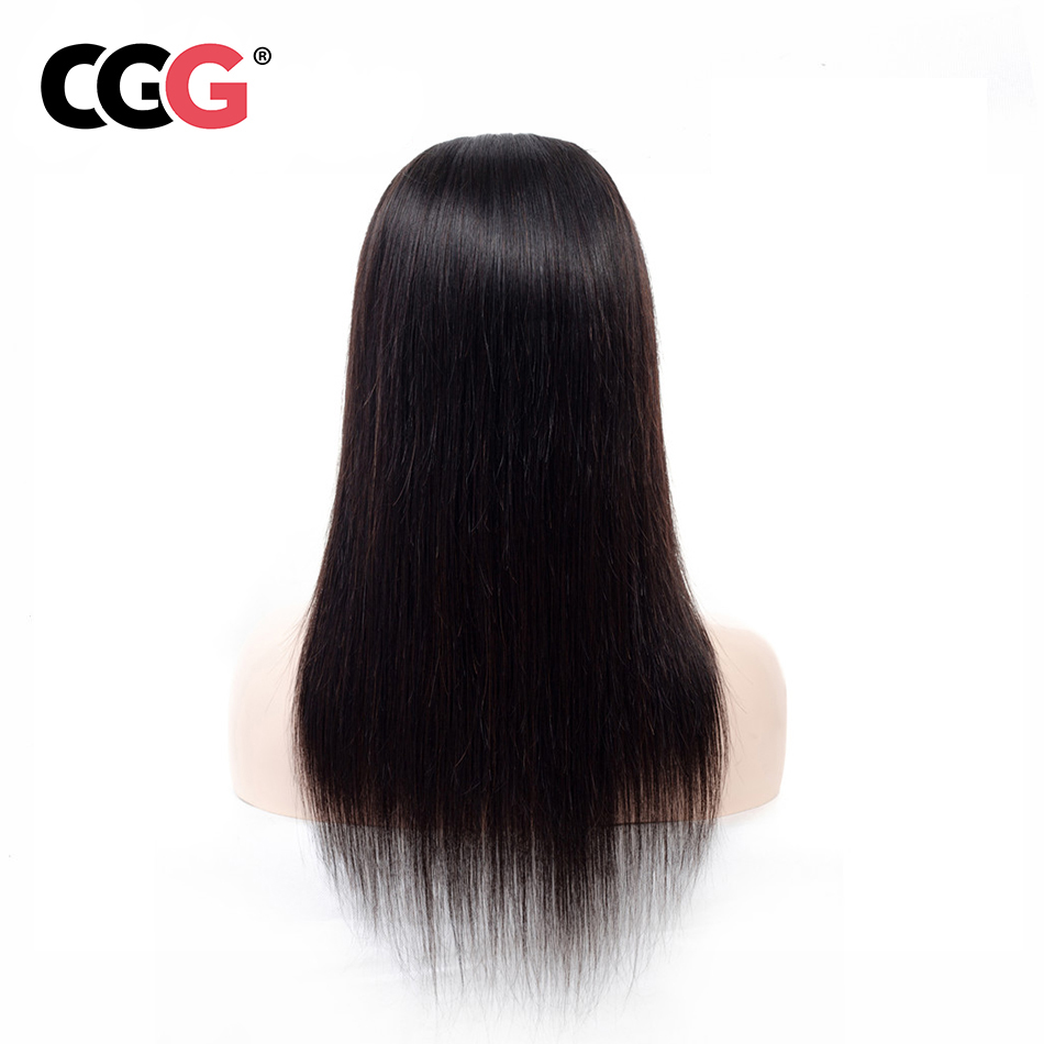 CGG 4 4 Lace Frontal Straight Human Hair Wigs With Baby Hair Non Remy Human Brazilian