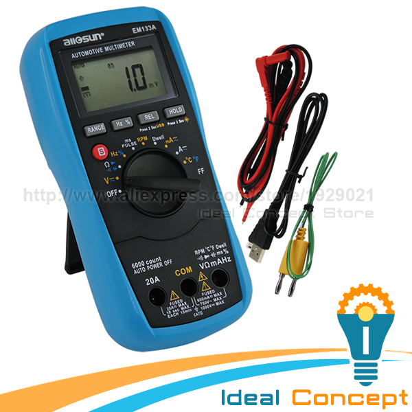 Automotive Multimeter Dwell Angle AC DC Current and Voltage Temperature Resistance Continuity Diode Capacitance мультиметр uyigao ac dc ua18