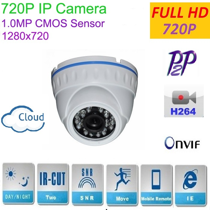 New type1280*720P H.264 1.0 Megapixel HD ONVIF IP Camera P2P Indoor 24pcs IR LEDs IR-CUT Night Vision Network Dome Camera 4pcs lot 960p indoor night version ir dome camera 4 in1 camera 3 6mm lens p2p onvif abs plastic housing