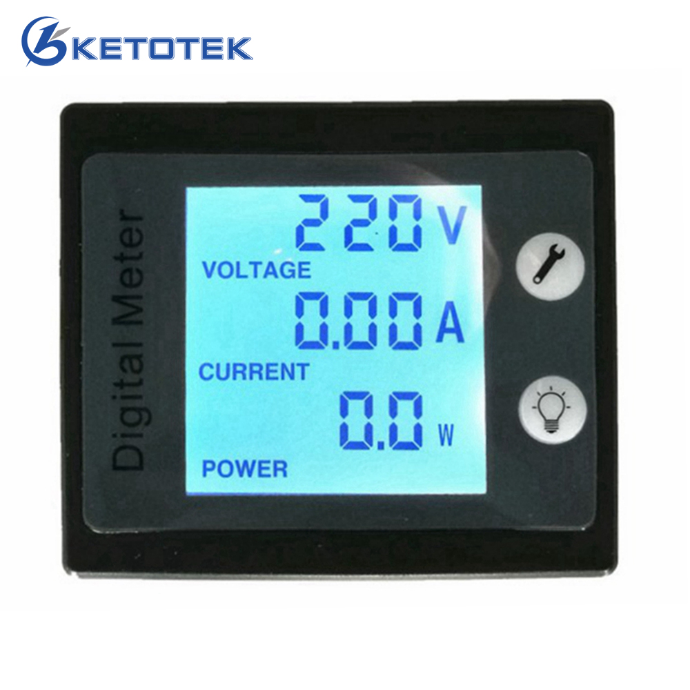 AC 80-260V 0.00-100A 0.00-10.0A AC Voltmeter Ammeter Power Energy Meter Volt AMP Watt KWh Tester STN Whole Viewing Angle LCD