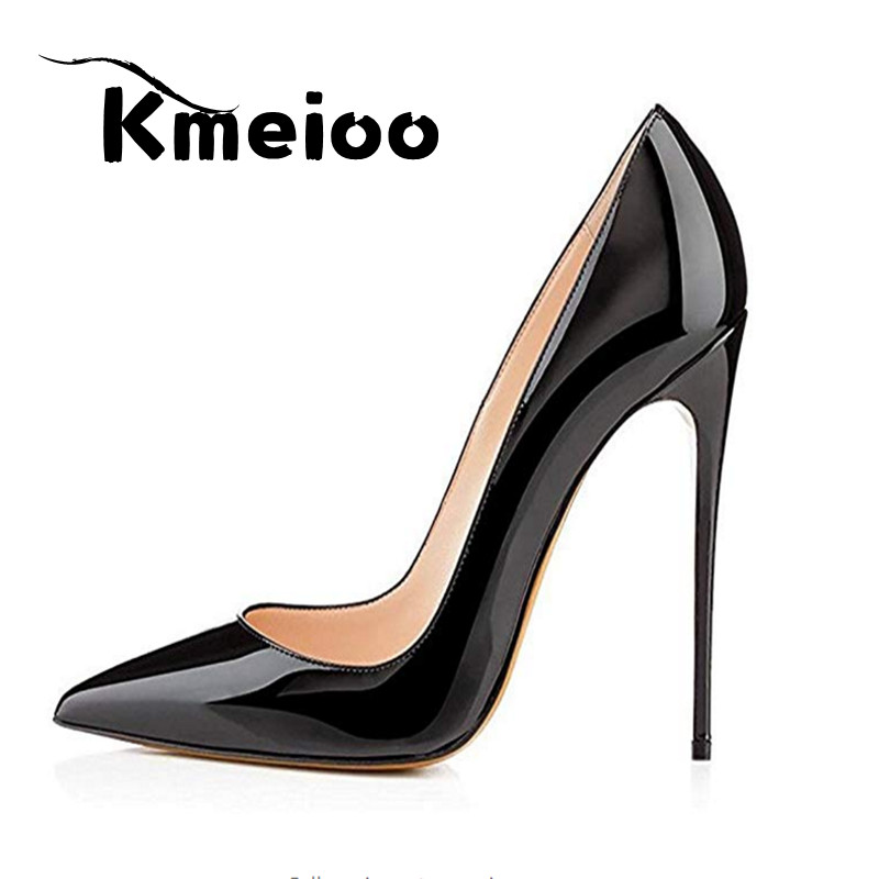 Kmeioo Brand Shoes Woman High Heels Wedding Shoes Pumps 12CM Sexy Pointed Toe Office Ladies Shoes shoes woman 12cm high heels gold shoes women pumps pointed toe ladies wedding shoes thin heels glitter shoes zapatos mujer f 008
