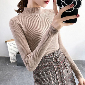 2019 Autumn Winter Women Pullovers Sweater Knitted Korean Elasticity Casual Jumper Fashion Slim Turtleneck Warm Female Sweaters 1