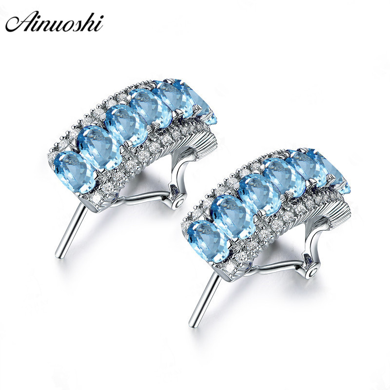 AINUOSHI Natural Blue Topaz Arc Click Back Earring 2 5 Carat Blue Gems Silver Earrings Trendy