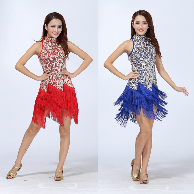Women Colorful Sexy Bling Latin Sequins Dress Ballroom Salsa Samba Rumba Tango Cha Cha  Dance Performance Dress