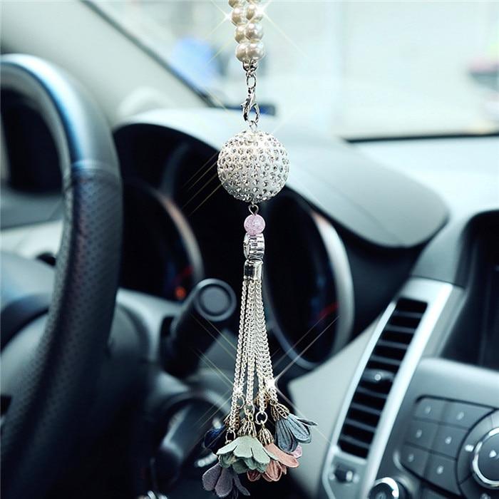 Автомобильный кулон с алмазным хрустальным шаром, автомобильное украшение, шарм, авто интерьер, зеркало заднего вида, подвеска, висячий орнамент, подарки - Название цвета: B