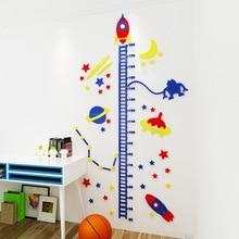 Acrylic 3D height sticker Rocket starry sky 3d wall childrens room cartoon baby measuring bedroom