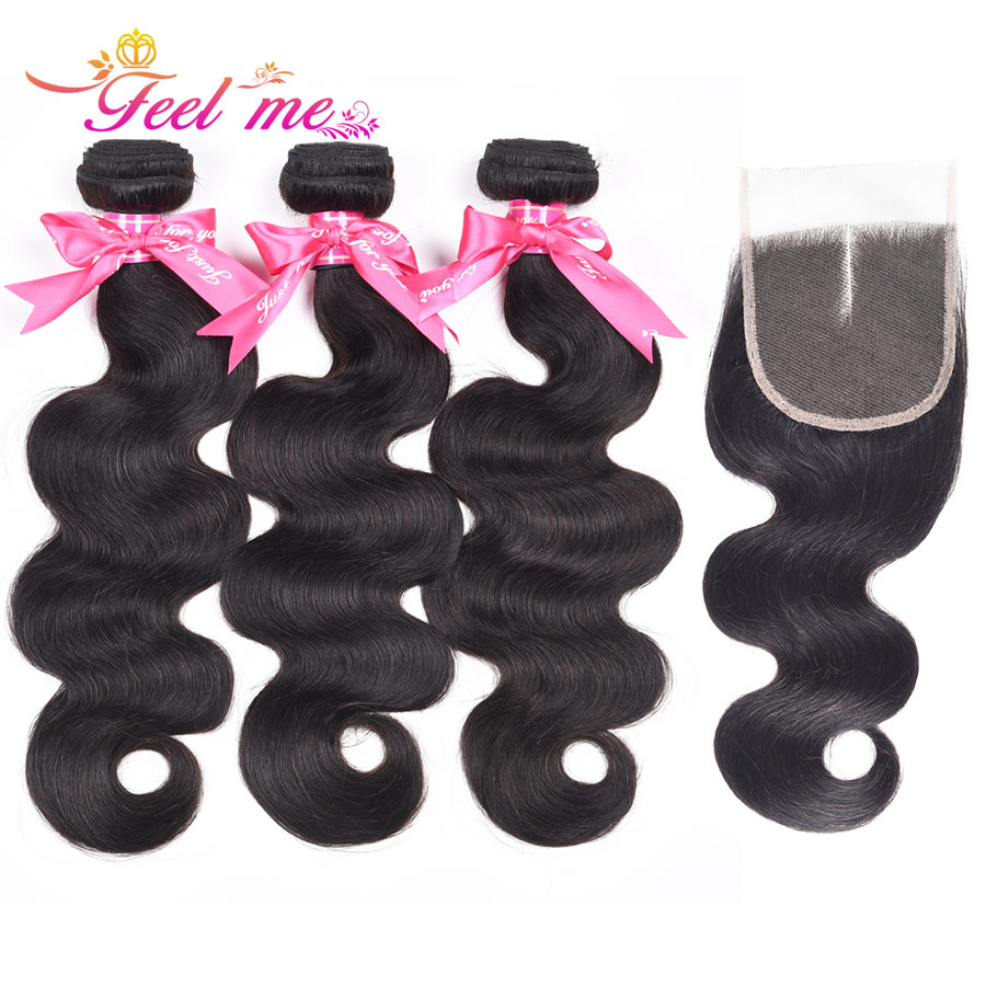 Feel Hair Brazilian Human Weave Bundles with Closure Middle Part Human Hair Body Wave 3 Bundles with Lace Closure Non-remy