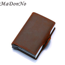 Antitheft Genuine Leather Card Wallet Men Purse Aluminum Metal Small Wallet Money Bag Rfid Smart Wallet Mini portefeuille homme(China)
