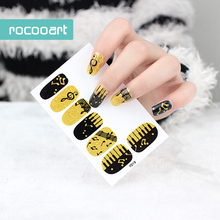 Self-Adhesive Nail Art Stickers Gold Black Music Simbols Designs Nail Decals Fashion Manicure Full Wraps Sticker For Nails 22tips sheet toe nail stickers waterproof full cover foot decals toe nail wraps adhesive stickers diy salon manicure