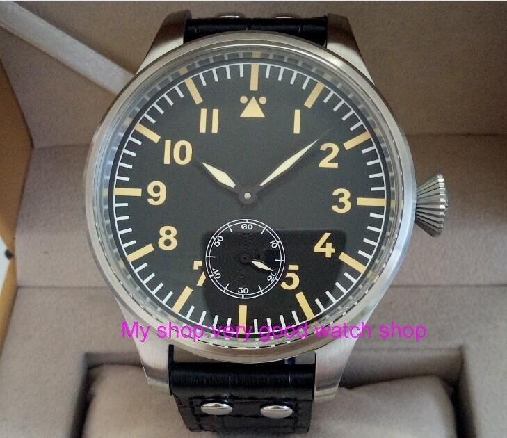 55mm très grand cadran PARNIS asiatique 6498 mécanique main vent mouvement mécanique hommes montres montres mécaniques 308