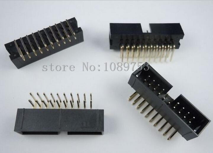 100pcs 2.54mm 2x10 20 Pin Right Angle Male Shrouded PCB Box header IDC Connector 20set ch3 96mm 4 pin header plug terminal female jack pcb header power right angle connector