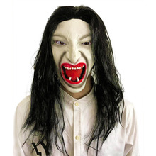 Scary Mask Halloween Long Hair Ghost Horror Latex Masks Full Face Mascara Cosplay Terror Decor Party Easter Carnival