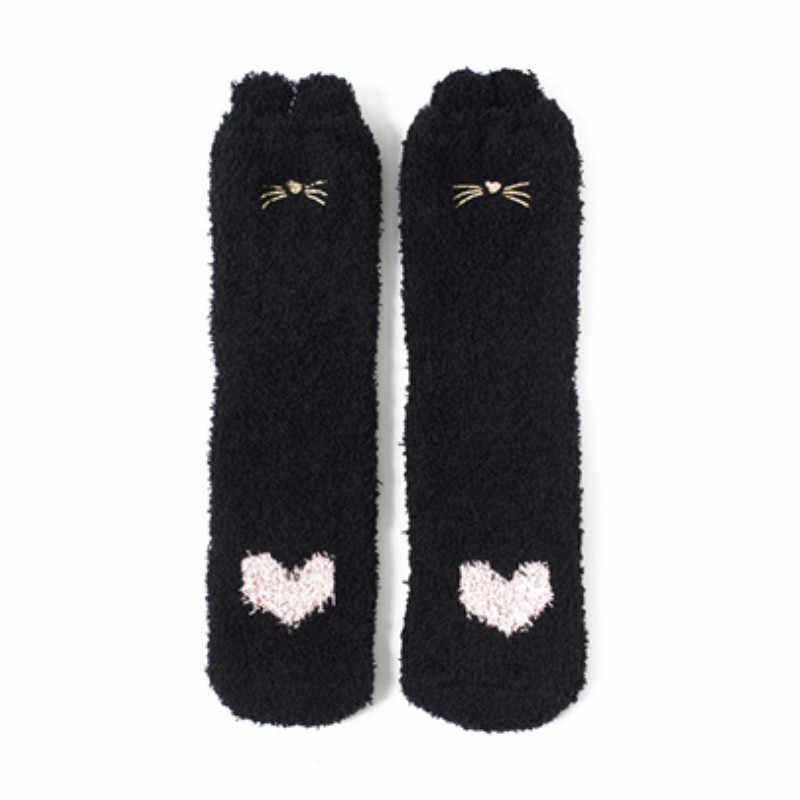 Пушистые носки с героями мультфильмов вышивка мультяшного кота милые носки с бородой весенне-осенние носки из кораллового флиса домашние носки-Тапочки
