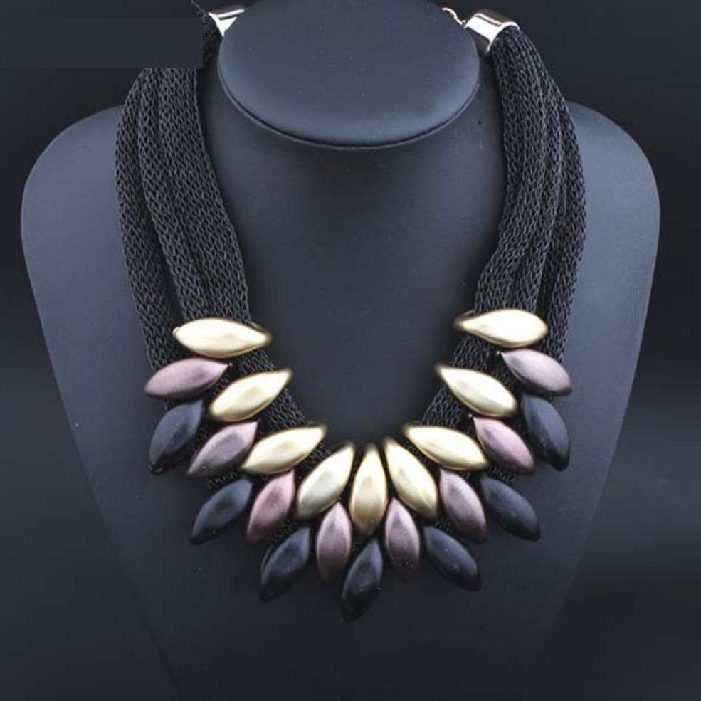 Collier Femme Plastic Big Maix statement Necklace Cloth Woven choker Statement Necklaces Chunky Women jewelry Pendant chocker