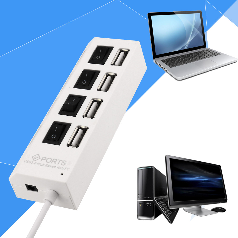 New 4 Port USB 2.0 Hub On/Off Switches + DC Power Adapter Cable for PC Laptop hub power new 7 ports led usb 2 0 adapter hub power on off switch for pc laptop 60315