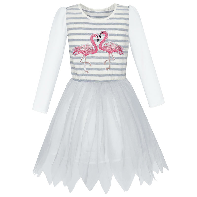 Girls Dress Grey Tulle Long Sleeve Crane Striped 2017 Summer Princess Wedding Party Dresses Girl Clothes Size 5-12 Pageant girls dress ruffles tulle tiered dress sequin party birthday princess 2016 summer wedding dresses kids clothes size 4 12 pageant