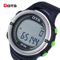O T S Waterproof Sports Digital Watch With Black Light Heart Rate Calories Monitoring Watch Men