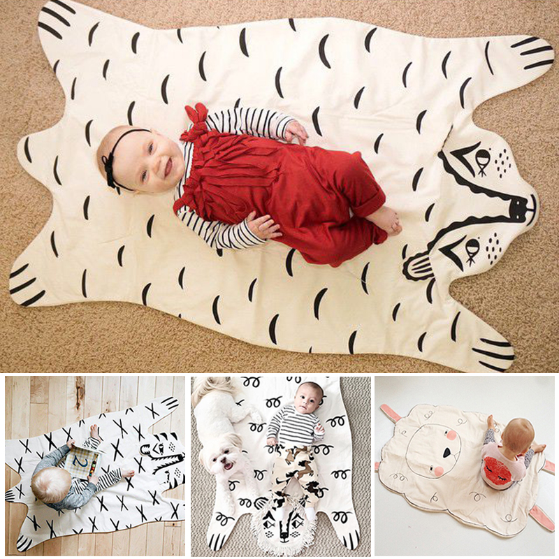 113*68cm New arrival Fashion baby Blanket Game Mat, cotton cute animals baby blanket suitable for kids Room Decor Christmas Gift