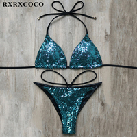 RXRXCOCO Sexy Bikini 2018 New Sequin Design Swimwear Women Brazilian Two Pieces Bikini Solid Low Waist