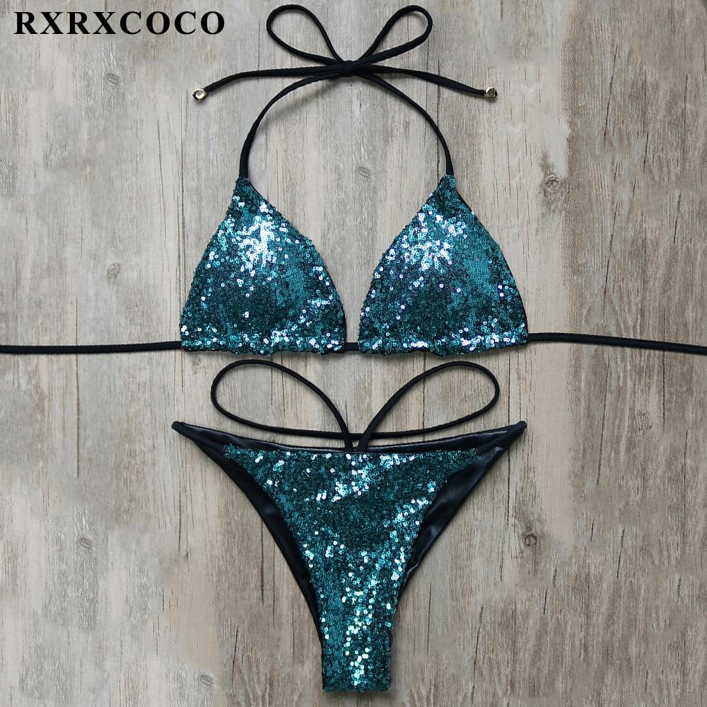 RXRXCOCO Sexy Bikini 2018 New Sequin Design Swimwear Women Brazilian Two Pieces Bikini Solid Low Waist Bikinis Set Bathing Suits