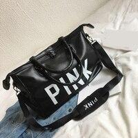 2019 Ladies Black Travel Bag Multi function Pink Sequins Shoulder Bag Women Handbag women Weekend Portable Duffel Bag Waterproof