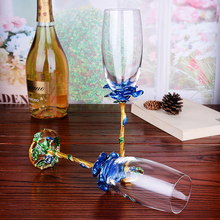 2 PCS / Set Crystal Wedding Champagne Flutes Stand Metal with Enamel Creative Style Goblet Glass Birthday Gifts