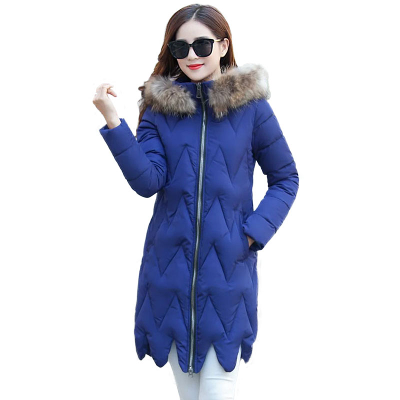 Womens Parka Fur Collar Hooded 2017 New Brand Quilted Coat Down Cotton Wadded Coat Female Long Jacket Pure Color/ Camo Tops womens winter jackets 2017 brand new parka with fur collar long coats down cotton jacket women wadded button hooded coat c3649