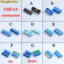 ChengHaoRan 1 pcs USB 3.0 90/180 graden 20pin 19pin male connector moederbord chassisplugged plaat IDC 20 pin connector socket(China)