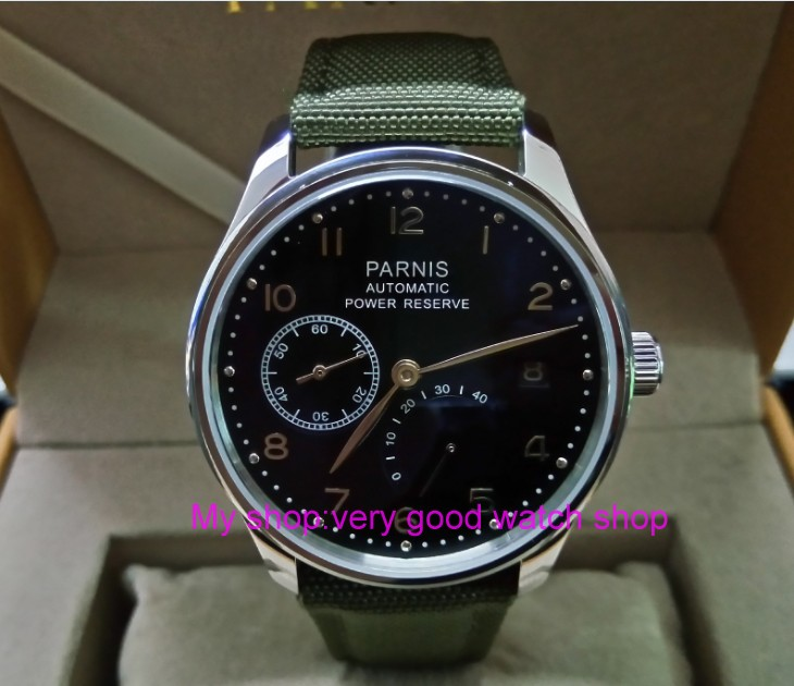 43mm PARNIS Automatic Self-Wind Mechanical movement men's watch Auto Date power reserve Mechanical watches Nylon strap 68A tevise auto date automatic self wind watches nylon band green black watch men mechanical fashion casual clock with box