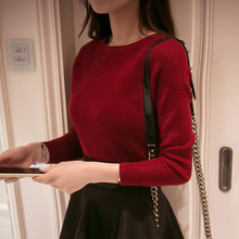 2018 The new spring collar sweater female short slim turtleneck sweaters solid tight long sleeved shirt