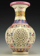 LARGE DECORATED VINTAGE PORCELAIN HAND PAINTED HOLLOW BIG VASE-FREE SHIPPING