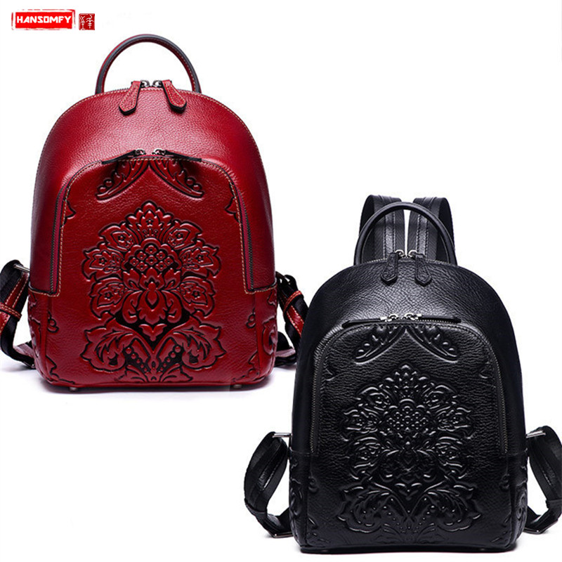 New leather Women backpack fashion female shoulder bag national wind flowers ladies embossing school girl red /black backpacksNew leather Women backpack fashion female shoulder bag national wind flowers ladies embossing school girl red /black backpacks