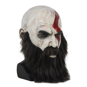 Image 3 - Game God Of War 4 Kratos Mask with Beard Cosplay Horror Latex Party Masks Helmet Halloween Scary Party Props