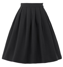 Women Skirt Fashion 2016 Summer High Waist Solid Color Plus Size Elastic Pleated Skirts Black Red Skater Short Mini Skirt