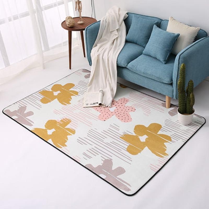 Simple moderne géométrique maison tapis Style nordique salon tapis chambre lit plein doux Polyester tapis rectangulaire doux Floormat - 4