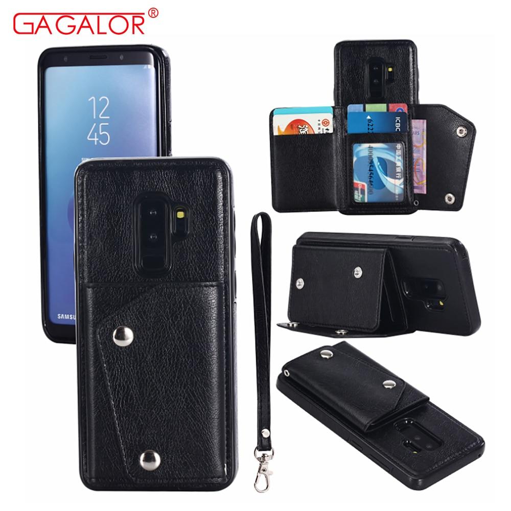 100 pcs/lot portefeuille en cuir synthétique polyuréthane Flip étui pour iphone X 8 Plus 6 6 S 7 Plus Carte Poche Housse De Support Pour Samsung S7 S8 S9 Plus Note 8