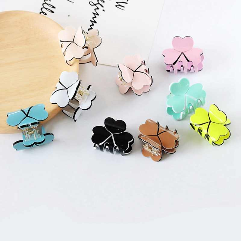 1PC Acrylic Women Mini Four Leaf Clover Hairpins Colorful Hair Claws Clips Clamp Barrettes Hair Pins Styling Tools Accessories